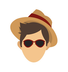 Young man with hat and sunglasses vector