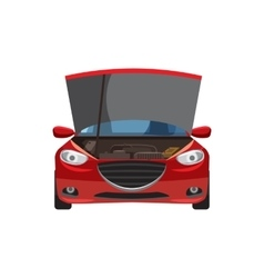 Red car with an open hood icon cartoon style vector