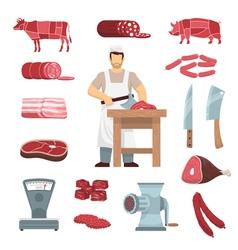 Meat butcher set vector