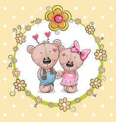 Two cute cartoon bears vector