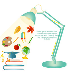 Design template with school items text desk lamp vector