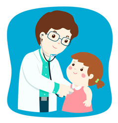Little girl on medical check up with male vector