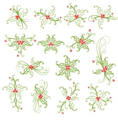 Holly Decorative Christmas Design Elements vector image