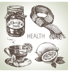 Sketch healthy and medical set Hand drawn vector image