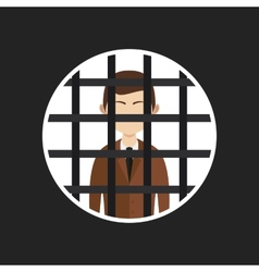 Cartoon businessman in prison vector
