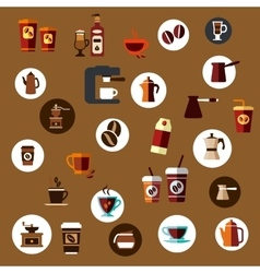 Flat takeaway coffee cups beans pots icons vector