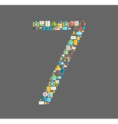 Seven number social network with media icons vector