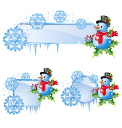 Snowflakes and snowman vector