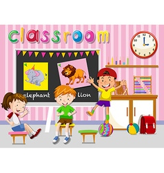 Children having fun in classroom vector