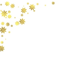 Gold glittering foil flowers on white background vector