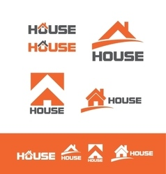 House real estate logo icon set vector