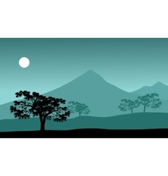 Silhouette of mountain and moon vector