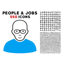Bald man icon with bonus vector