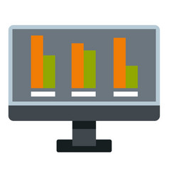 Bar graph on the screen of computer icon isolated vector