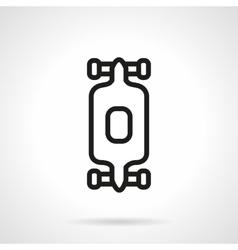 Black simple line longboard icon vector