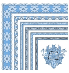 Blue colour floral vintage frame design vector