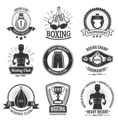 Boxing black emblems on white background vector