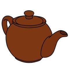 Brown ceramic pot vector