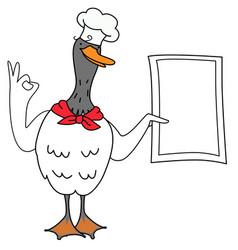 Cartoon duck chef with a menu vector