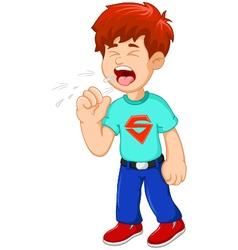 Cartoon little boy coughing vector