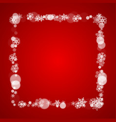 Christmas border with white snowflakes vector