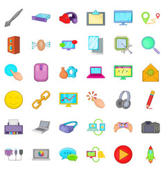 Computer email icons set cartoon style vector