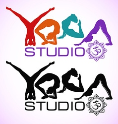 Creative logo of yoga studio with womens vector