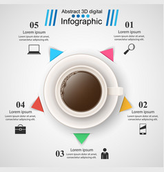 Cup coffe tea drink - business infographic vector