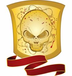 decorative skull shield vector image vector image