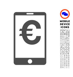 euro mobile balance icon with set vector image