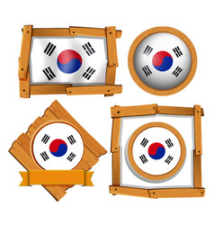 Flag of south korea in different frames vector