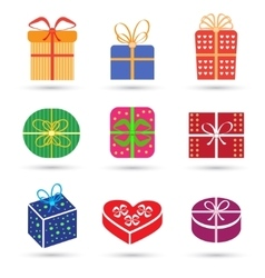 Gift box colorful icon set different styles vector image vector image