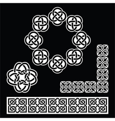 Irish Celtic patterns knots and braids on black vector image vector image