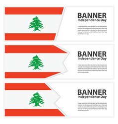Lebanon flag banners collection independence day vector