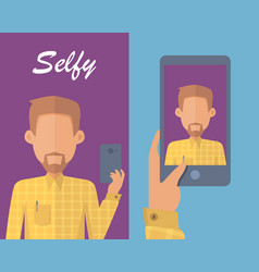 Man with beard making selfie vector