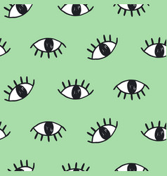 Modern hand drawn eye doodles seamless pattern vector