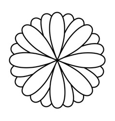 Monochrome oval petals forming flower vector