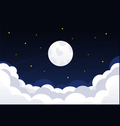night sky with clouds stars and crescent moon vector image vector image