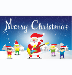 Santa claus and childen hello merry christmas vector