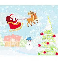 Santa claus flying over village vector