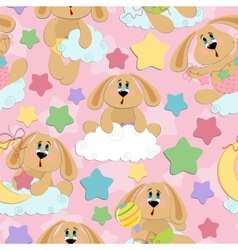 Seamless background for babies with bunny vector image