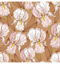 Seamless pattern with iris vector image