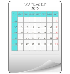 september 2012 vector image vector image