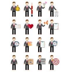 set businessman stock flat vector image vector image