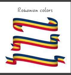 set of three ribbons with the romanian tricolor vector image
