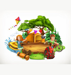 summer camp camping and adventure 3d vector image vector image