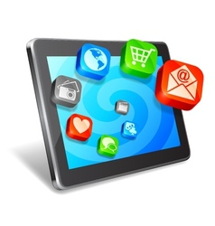 Tablet and media icons vector image vector image