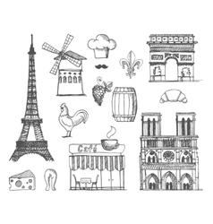 The sketch about France and Paris vector image