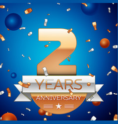 two years anniversary celebration design vector image