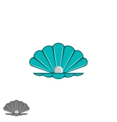 Shell pearl logo open seashell with a pearl vector image